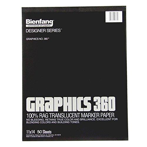 Bienfang 360 Graphics Marker Paper Pad, 11 X 14 Inches, 13.5 lb, Translucent, 50 Sheets (316130)