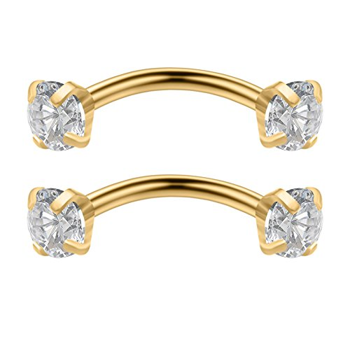 Ruifan 2PCS 16G 6mm 1/4Inch Stainless Steel 3mm Cubic Zirconia Gem Internally Thread Curved Barbell Eyebrow Tragus Lip Ring Piercing Jewelry - Gold