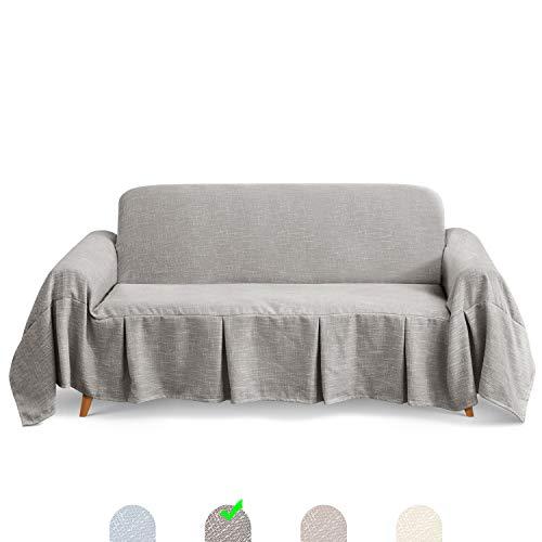 TAOCOCO Sofadecke Sofaüberwurf Sofabezug Bedspread Plaid Picknickdecke (Grau, 3 Sitzer (320 x 210 cm))