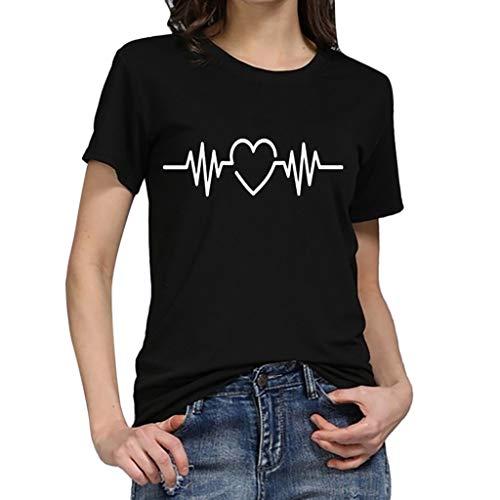 Dasongff dames T-shirt meisjes tieners zomer, T-shirt wit dames losse katoen crop tops elektrocardiogram grafisch korte mouwen t-shirt thees blouse casual joker crop top bovenstuk XX-Large zwart