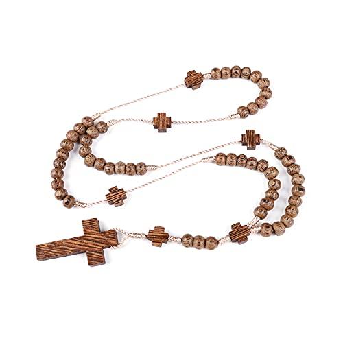 Rosario católico con cuentas de madera de olivo y cruz Jerusalén hecha a mano