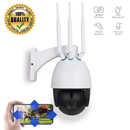 ZYLFN Cámara IP Exterior, Camara IP 4G 1080P, Cámara PTZ Vigilancia Exterior Motorizada P/T 5X Zoom Visión Nocturna Detección De Movimiento Monitorización,Tarjeta TF De 64 G (Incluida)