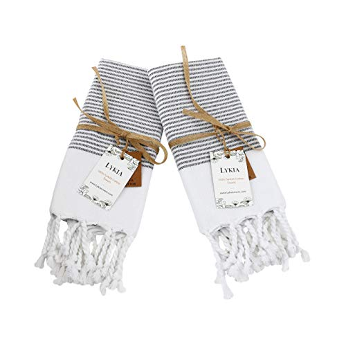 Lykia Turkish Hand Towel Set of 2 - Decorative Hand Towels for Bathroom and Kitchen - 100% Cotton 17x40 Inches - Great for Bath Gym Yoga Travel and Housewarming Gifts (Black-White)