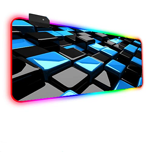 Mouse Pads Black and Blue Square Art RGB Gaming Mouse Mat Pad Large Computer Mousepad XXL 14 LED Lighting Modes Gaming Mouse Mat Non-Slip Rubber Base Keyboard Pad Gift for Gamer 19.69'x39.37'