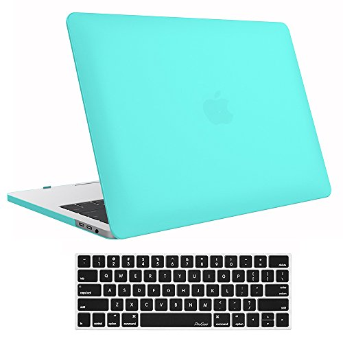 ProCase MacBook Pro 13 Case 2019 2018 2017 2016 Release A2159 A1989 A1706 A1708, Hard Case Shell Cover and Keyboard Skin Cover for Apple MacBook Pro 13 Inch -Turquoise