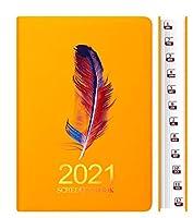 日記2021ウィークリー&マンスリープランナー2021A5プレミアムシックペーパーバレンタインアニバーサリーバースデーギフトforKid Boy Girl Men Women-オレンジ