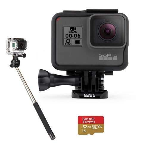 GoPro HERO6 Black CHDHX-601 + 32GB microSDHC Card + Micro HDMI Cable + Case for GoPro HERO4 and GoPro Accessories + Fibercloth Bundle (Selfie Stick)