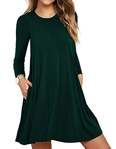 Unbranded Women's Pockets Casual Swing T-Shirt Dresses Dark Green Medium