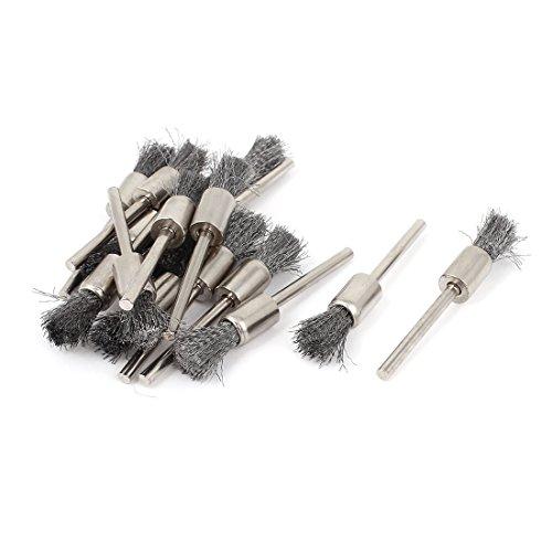 Aexit Stift Industriebürsten Form 3mm gerade Schaft Drahtbürste Polierbürste Reinigungbürste Industriebürstensätze 15 Stück
