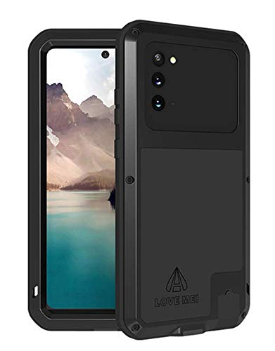 LOVE MEI for Samsung Galaxy Note 20 Case,Heavy Duty Outdoor Shockproof Dustproof Hybrid Aluminum Metal Robust Military Bumper Protective Cover for Samsung Galaxy Note 20 (6.7 inch) (Black)