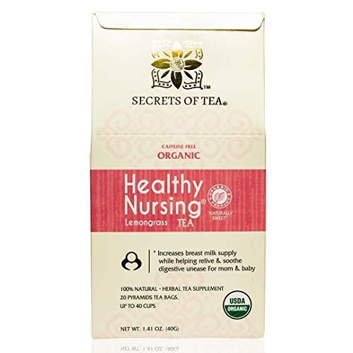 Secrets Of Tea Healthy Lactation Tea for Breastfeeding Moms - Natural USDA Organic Caffeine Free Nursing Tea for Increased Breast Milk - Postnatal Lactating Tea for Women - Lemongrass Flavor ( Up to 40 Servings) - 20 Count(1 Pack)