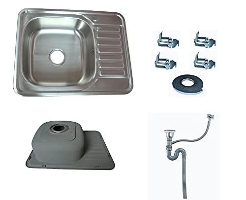 Omeere Fregadero pequeño de acero inoxidable 304 de 0,8 mm, 65 x 50 x 17 cm, 1 seno, fregadero empotrable de cocina cuadrado y redondo