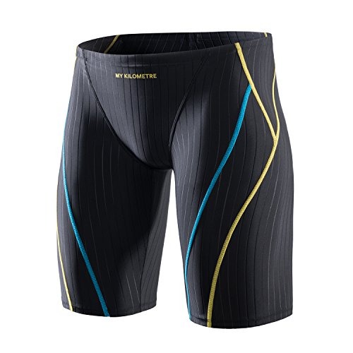 MY KILOMETRE Jammer Swimsuit Mens Solid Swim Jammers Endurance Long Racing Training Swimsuit Black
