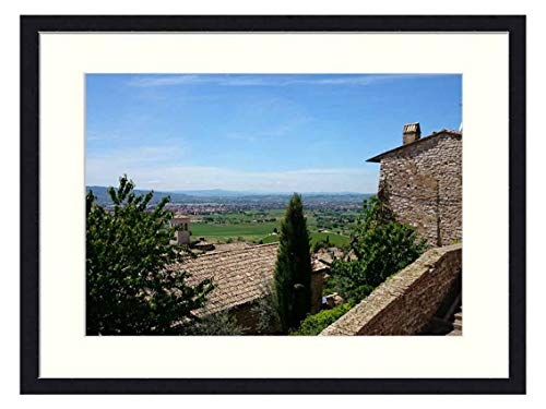 OiArt Wall Art Print Wood Framed Home Decor Picture Artwork(24x16 inch) - Italy Assisi Umbria Tuscany Medieval Historic