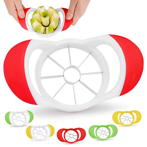 Zulay 8 Blade Apple Slicer  Easy Grip Apple Cutter With Stainless Steel Blades  Fast Usage Apple Corer And Slicer Tool That Saves Time amp Effort Red amp White