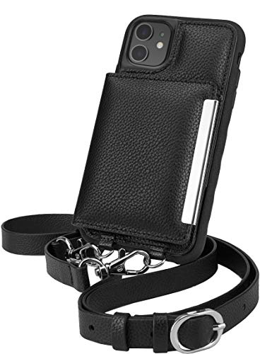 Smartish iPhone 11 Crossbody Case - Dancing Queen [Purse/Clutch with Detachable Strap & Card Holder] - Stiletto Black-Silver