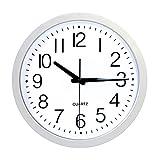 Cakunmik Relojes De Jardín De Reloj Al Aire Libre Impermeable, Reloj De Pared Al Aire Libre Silencioso Metal Al Aire Libre/Exterior Relojes Decorativos para Patio Home, 12 Pulgadas,Blanco