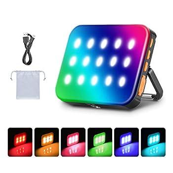Neewer LED RGB Lampe Étanche Extérieure de Lanterne de Camping, Veilleuse de Secours Rechargeable de 3000mAh 3200K-6500K Dimmable, Module Magnétique Intégré pour Randonnée, Pêche, Randonnée, Maison
