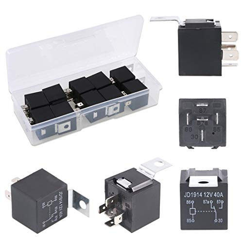 Glarks 10 Pack 12V 30/40 Amp 5-Pin SPDT Electrical Relays Switch for Automotive Truck Boat Marine