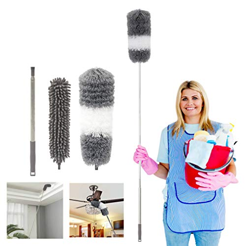 Telescoping Microfiber Duster,1 Stainless Steel Pole & 2 Cleaning Head,Ceiling Fan Duster,Bendable Washable Head,30-100 inches,for Cleaning Roof, Blinds, Cobwebs, Corners,Furniture,Car,Skylight