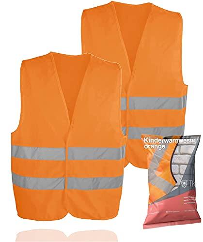Chaleco de seguridad para 2 personas naranja, para niños - niños y niñas - chaleco de seguridad EN471 chaleco de seguridad 2021 chaleco de seguridad ultrabrillante
