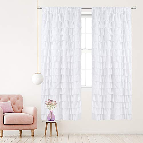 Westweir White Ruffle Curtains - Ruffled Curtain for Bedroom,Princess Curtains for Girls Room, Living Room,42 X 84-Inches (Set of 2 Panels)