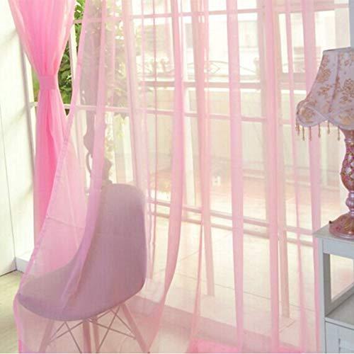 Panel de Cortina de Color sólido de diseño Moderno Cortinas para la Cocina del hogar Sala de Estar Dormitorio Cortina de Tul para decoración de Ventanas - Rosa