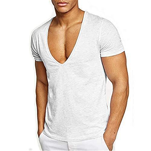 FengCheng Herren Uni T-Shirt mit extra tiefem V-Ausschnitt Slimfit deep V-Neck Stretch dehnbar Einfarbiges Basic Shirt-65% Baumwolle und 35% Elasthan (weiß,XXL)