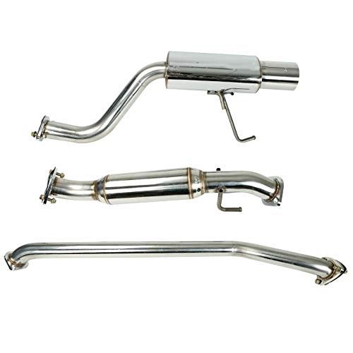 SUPERFASTRACING 4 Inch Muffler Tip Catback Racing Exhaust System T-304 Stainless Steel Fits for 2002-2006 Acura RSX DC5 Type-S Increases 15-25 Horsepower