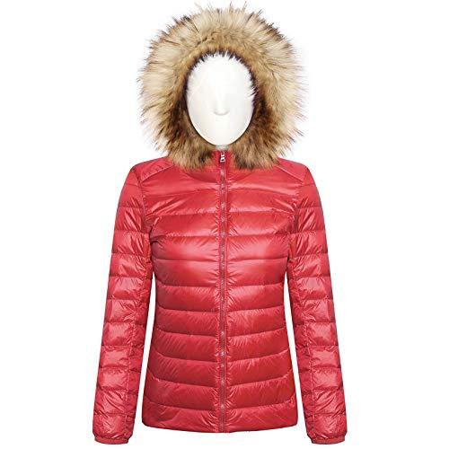BaZhaHei Damen Herbst Winter Warme Coat Jacke Winter Solid Round Collar Outerwear Steppjacke Übergangsjacke Winterparka Daunenjacke Elegante Mantel Kapuzenpullover