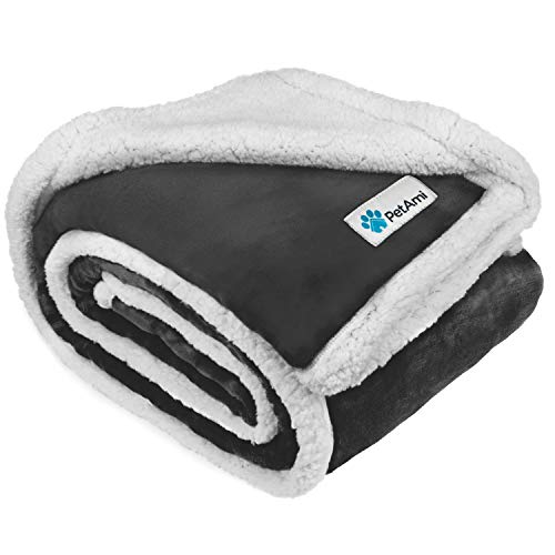 PetAmi Dog Blanket, Sherpa Dog Blanket | Plush, Reversible, Warm Pet Blanket for Dog Bed, Couch, Sofa, Car (Charcoal, 50x40 Inches)