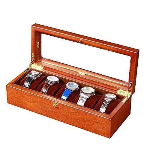 Caja de Reloj Caja de Reloj para Hombre 5 Ranuras para Reloj Joyas Caja de exhibición de Reloj de Madera Almacenamiento Pantalla Superior de Vidrio Cajas de Reloj Presente, enrollador automático de