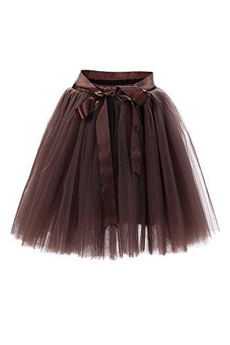 Babyonline® Damen Prinzessin Falten Rock Vintage Kleid Spitzen Rock Midirock Ballettrock Tüllrock Unterrock Knielang, Braun, One Size / Einheitsgröße
