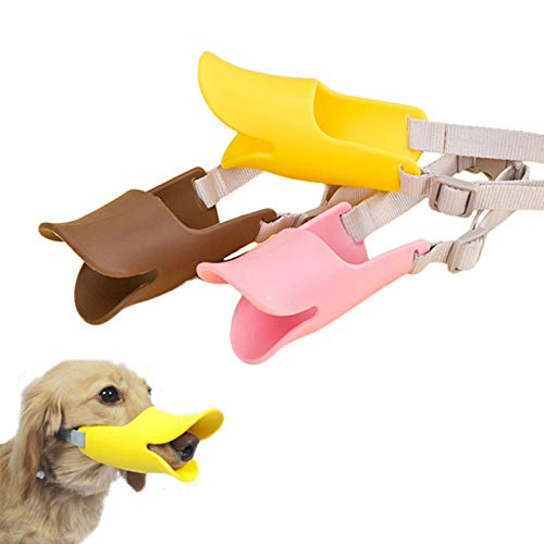 3 Pack Adjustable Dog Muzzle for Small Medium Breeds Dogs,Anti Bite Silicone Pets Mouth Cover with Duck Mouth Shape,Best to Prevent Biting, Screaming,Chewing and Barking(Yellow & Pink & Brown)