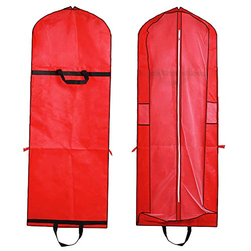 155cm Bridal Wedding Gusseted Gown Garment Bag, Foldable Portable Travel Dress Cover with Handles for Womens,Red