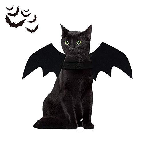 LAWOHO Disfraz de Halloween para mascotas, alas de murciélago, bruja, vampiro, cosplay para gatitos, cachorros, Halloween, Navidad, vacaciones y cosplay