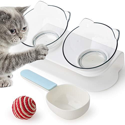 GeeRic Futternäpfe Katzenfutter 15° Gekippte rutschfeste Basis mit Lebensmittelschaufel und Katzengarn-Ball