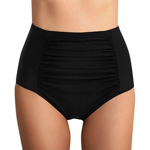 Cintura Alta Mujer Plisada bañador Brasileno Bikini Tangas natación bañador Verano Playa Traje de baño Bikinis Bottoms Bragas Tighten Abdomen Flexibilidad de Confort riou