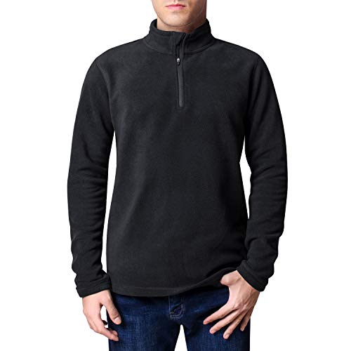 CoolDry Men's Comfort Anti-Pilling Micro Fleece 1/4-Zip Soft Pullover (Charcoal, L)