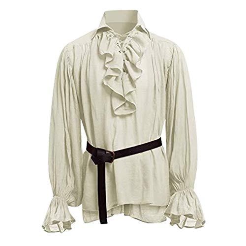 STRIR Camisa con Cordones renacentista Medieval Túnica Medieval Traje Caballero Viking Guerrero Camiseta con Cinturón para Hombres Disfraz de Pirata de la Edad Media (S, Beige)