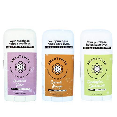 3 Pack Natural/Aluminum-Free Deodorant (with baking soda) Paraben Free, Phthalate Free, PROPYLENE GLYCOL FREE, Not Tested on Animals | 2.9oz (Coconut Mango, Lavender Rose, Eucalyptus Spearmint)