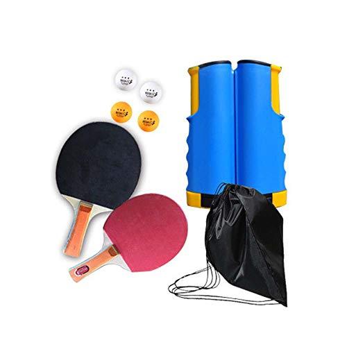 Morbuy Ping Pong Juego de Tenis de Mesa portátil, Red de Tenis de Mesa retráctil (con 2 Raquetas, 4 Pelotas, una Bolsa y una Red retráctil) para Escuela Familia Interiores Exteriores (Azul)