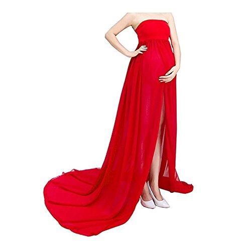 Mujer Embarazada Gasa Larga Vestido de maternidad Split Vist