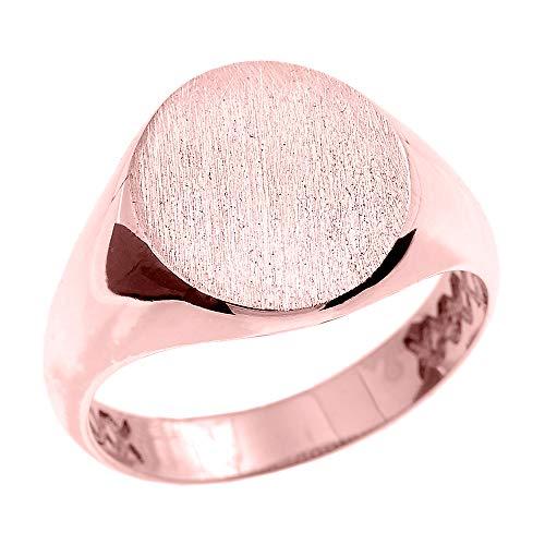 Rose 9 ct Gold Oval Engravable Men's Signet Ring GII