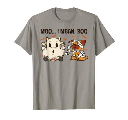 Moo I Mean Boo - Animales de granja para Halloween Camiseta
