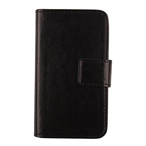 Gukas Flip PU Billetera Design para Funda De Carcasa Cartera De Cuero Case Cover Piel Intex Aqua S9 Pro 5.5' (Negro)