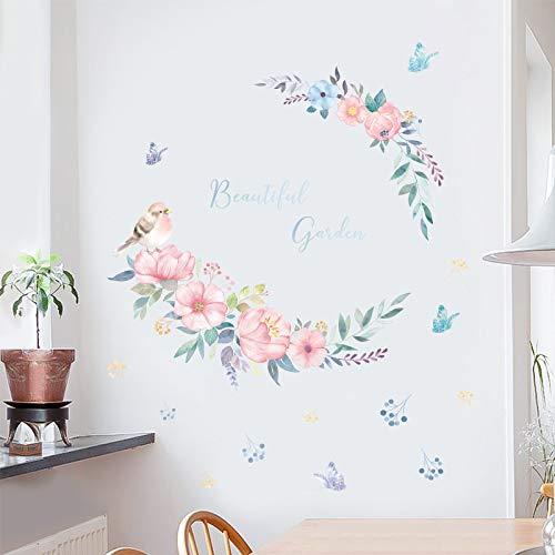 Estilo nórdico racimo de flores Internet celebridad pegatinas de pared habitación de niña dormitorio vinilo extraíble tatuajes de pared decoración del hogar pegatinas de pared 60X90cm