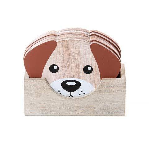 Juego de 6 Posavasos, Posavasos Originales con Caja para Café, Vasos, Taza, Diseño Perro - Regalos Amantes Perros y Animales