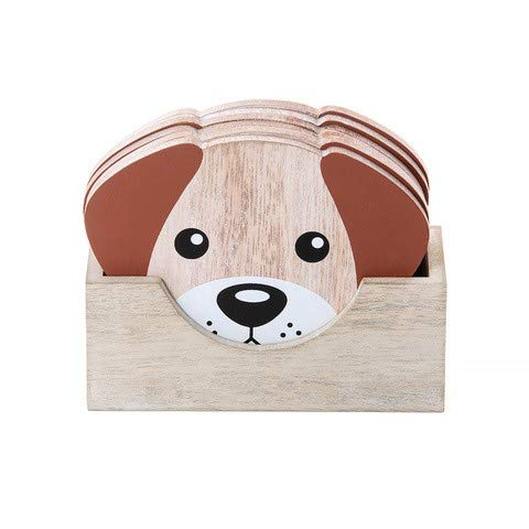 Coasters Set of 6 Wooden Coasters with Holder for Drinks Cup Mug Glass, Dog Gift for Dog Lover and Dog Owner