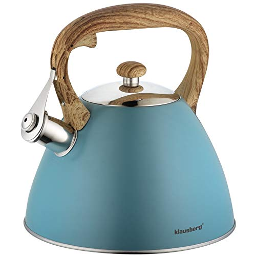 Whistling Kettle 3 L Stove Induction,Gas, Electric Blue Cream Grey Black Gold (Blue)